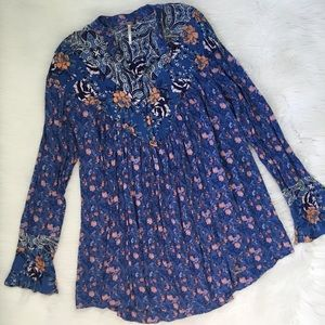Free People Blue Floral Button Front Boho Tunic